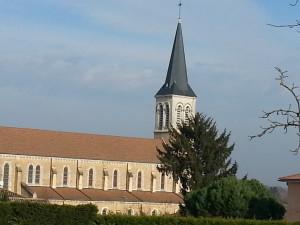 """Eglise de Mogneneins vue des """"Vergers"""""""