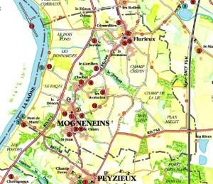 Plan de Mogneneins - Les hameaux