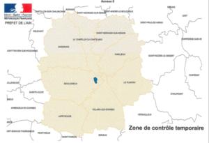 Arrêté préfectoral concernant la grippe aviaire : communes concernées (département de l'Ain)
