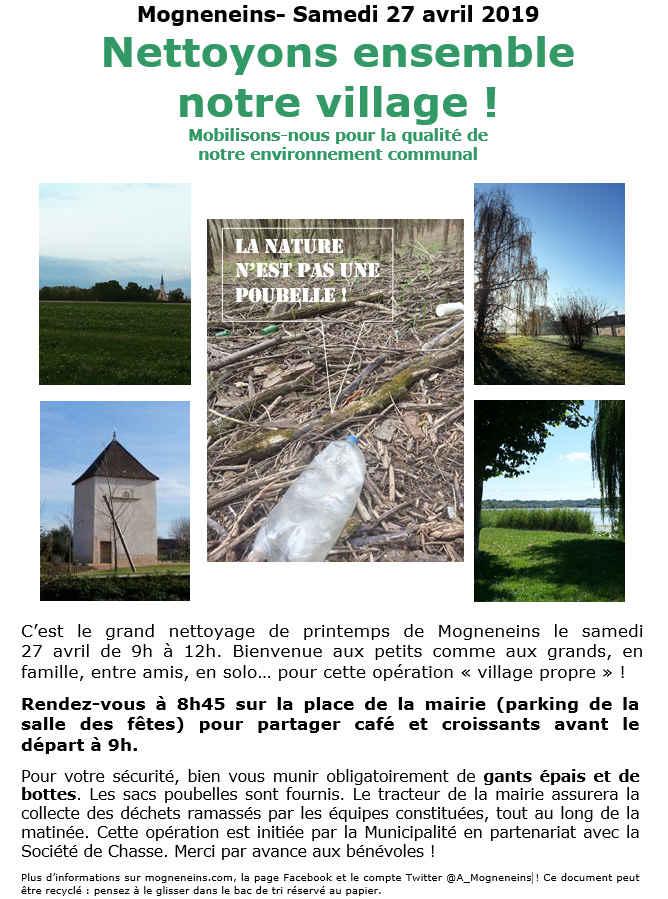 Nettoyons ensemble la Nature le 27 avril à Mogneneins !